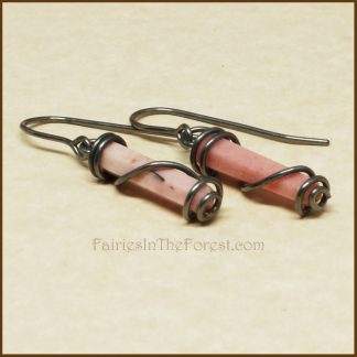 Sterling Silver Wrapped Pink Rhodonite Crystal Point Earrings