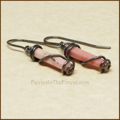 Sterling Silver Wrapped Pink Rhodonite Crystal Point Earrings