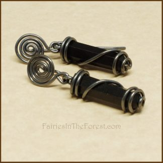 Sterling Silver Spirals and Blackstone Crystal Point Earrings