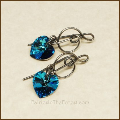 Sterling Silver Treble Clef and Blue Swarovski Heart Earrings