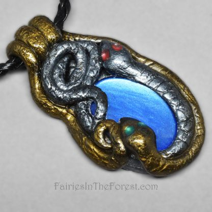 "Polymer Clay Snakes around Blue Painted Glass ""Stone"" Necklace"