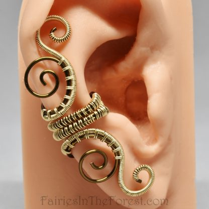 Gold and Vintage Brass Woven Swirly Ear Cuff