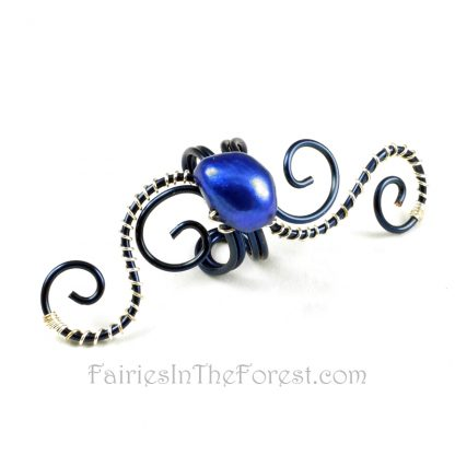 Blue and Silver Swirly Fairy Ear Cuff