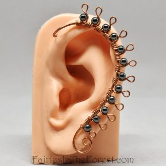 Copper and Hematite Spiked Ear Wrap
