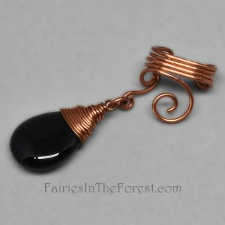 Copper Spiral Ear Cuff with Black Onyx Teardrop