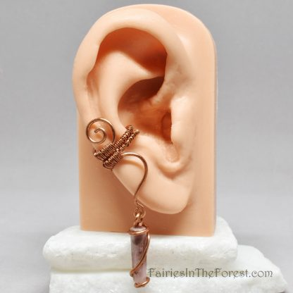 Woven copper and Rhodonite crystal point ear cuff.