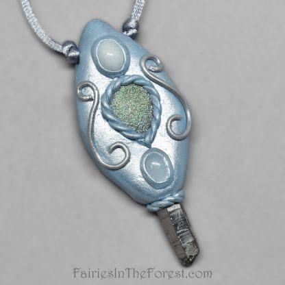 Blue polymer clay and Quartz crystal point necklace with white quartz and rainbow druzy.