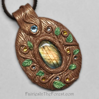 Labradorite and polymer clay necklace.