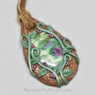 Nature inspired Ruby in Fuchsite and polymer clay necklace.