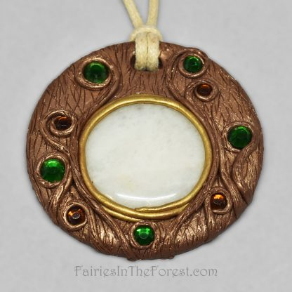 White Quartz with green and brown rhinestones polymer clay necklace.