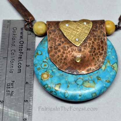 Copper and brass heart, Mosaic Turquoise donut pendant, on a handmade copper and Aragonite chain.