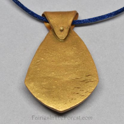 Lapis Lazuli in gold polymer clay necklace