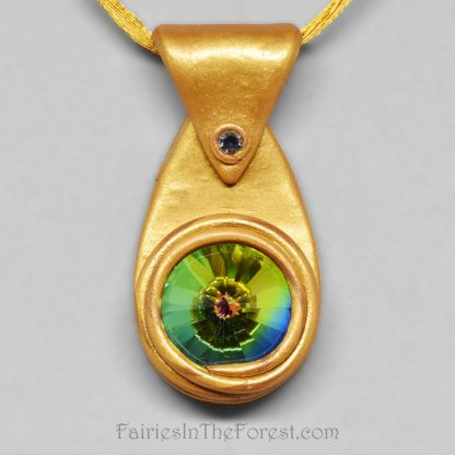 Gold polymer clay and rainbow crystal rivoli pendant.