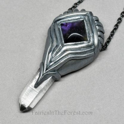 Amethyst and Quartz crystal point polymer clay necklace.