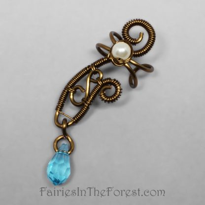 Vintage brass and blue Swarovski crystal fairy style handmade ear cuff.