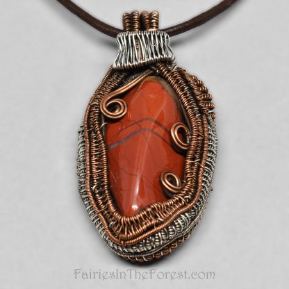 Brecciated Jasper, copper and sterling silver heady wire wrap pendant.