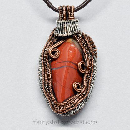 Brecciated Jasper, copper and sterling silver heady wire wrap pendant.