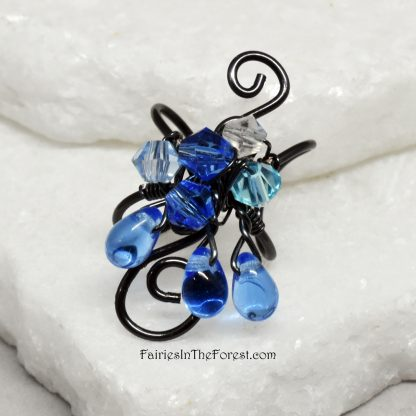 Black and Blue Fairy Ear Cuff
