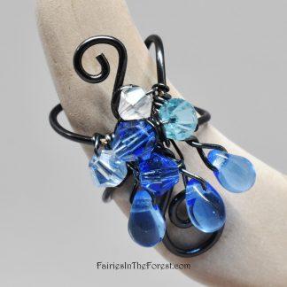 Black and Blue Fairy Ear Cuff