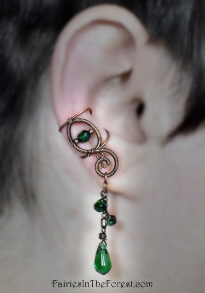 Copper Ear Cuff with Green Glass Charms - Right Ear