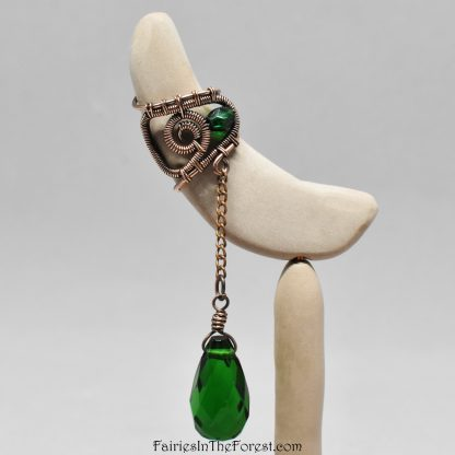Darkened Copper Swirl Ear Cuff with Green Glass Teardrop - Right Ear