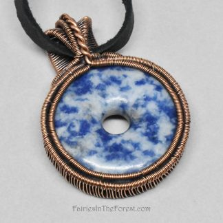 Copper Wire Wrapped Lapis Donut Necklace