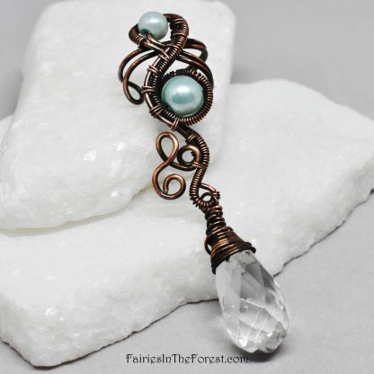 Copper And Green Glass Pearl Ear Cuff with Clear Glass Teardrop - Left Ear