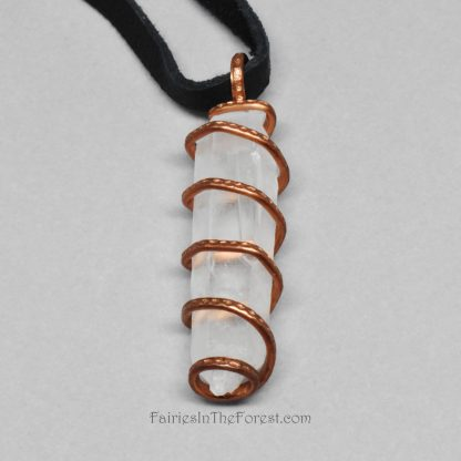Copper Spiral Wrapped Quartz Crystal Point