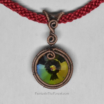Crystal Rivoli Pendant in Woven Copper Setting on a Hand Woven Red Necklacev