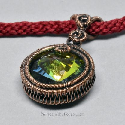 Crystal Rivoli Pendant in Woven Copper Setting on a Hand Woven Red Necklace