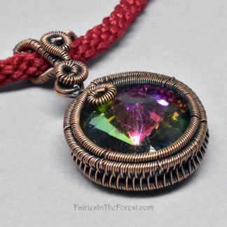Wire Wrapped Crystal Rivoli Pendant in Woven Copper Setting on a Hand Woven Red Necklace