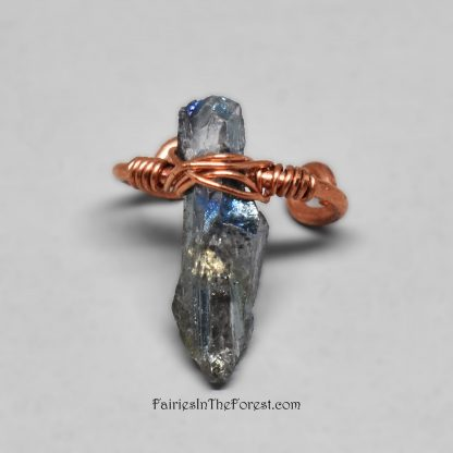 Copper and Titanium Quartz crystal point ear cuff.