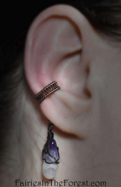 Copper and Amethyst Woven Ear Cuff