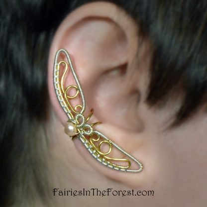 Silver and Gold Butterfly Wing Ear Cuff with Pink Freshwater Pearl