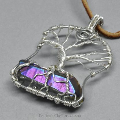 Silver Tree of Life Pendant with Rainbow Titanium Quartz Crystal Point