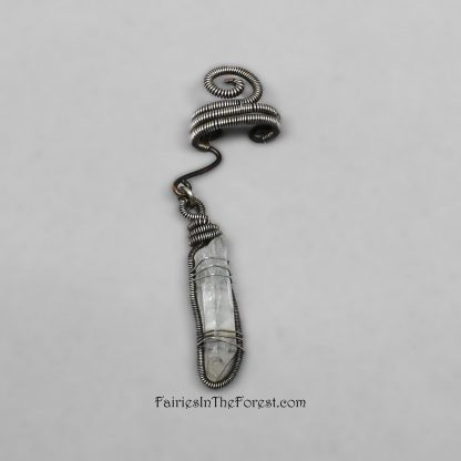 Quartz Crystal Point on Sterling Silver and Copper Ear Cuff