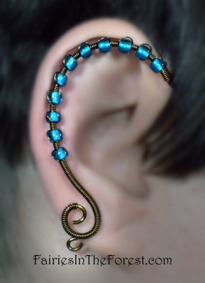 Blue Glass and Vintage Brass Ear Wrap - Right Ear