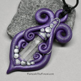 Purple Polymer Clay and Quartz Crystal Point Necklace