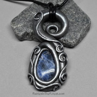 Polymer Clay and Sodalite Pendant on Black Leather Necklace
