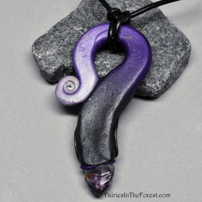Amethyst Crystal and Citrine Polymer Clay and Gemstone Necklace